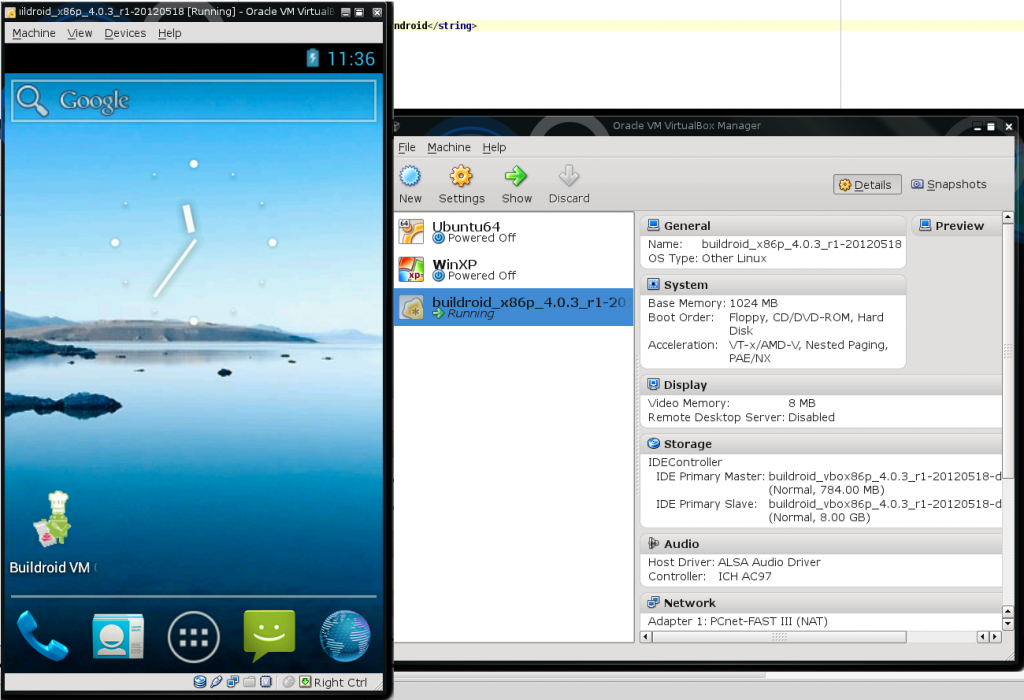 Emulateur Android sous VirtualBox